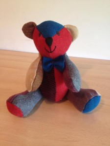 This is Harrison - the bear I made with Harris Tweed.